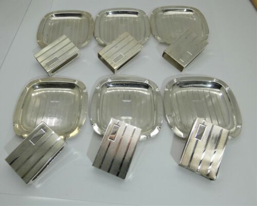 6 Sets of Vintage Sterling Silver Individual Ashtray + Matchbook Covers No Mono