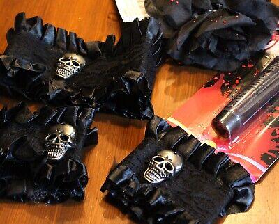 Vampir Kostüm Set 4-tlg Verkleidung Halloween Gothic Halsband Stulpen Haarreif