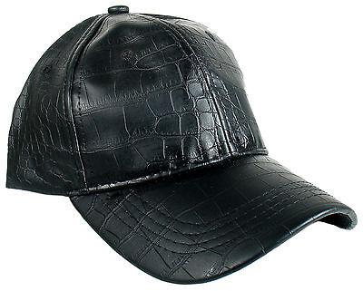 Men Women Faux Alligator Crocodile Black Leather Baseball Ball Cap Hat (Black Leather Baseball)