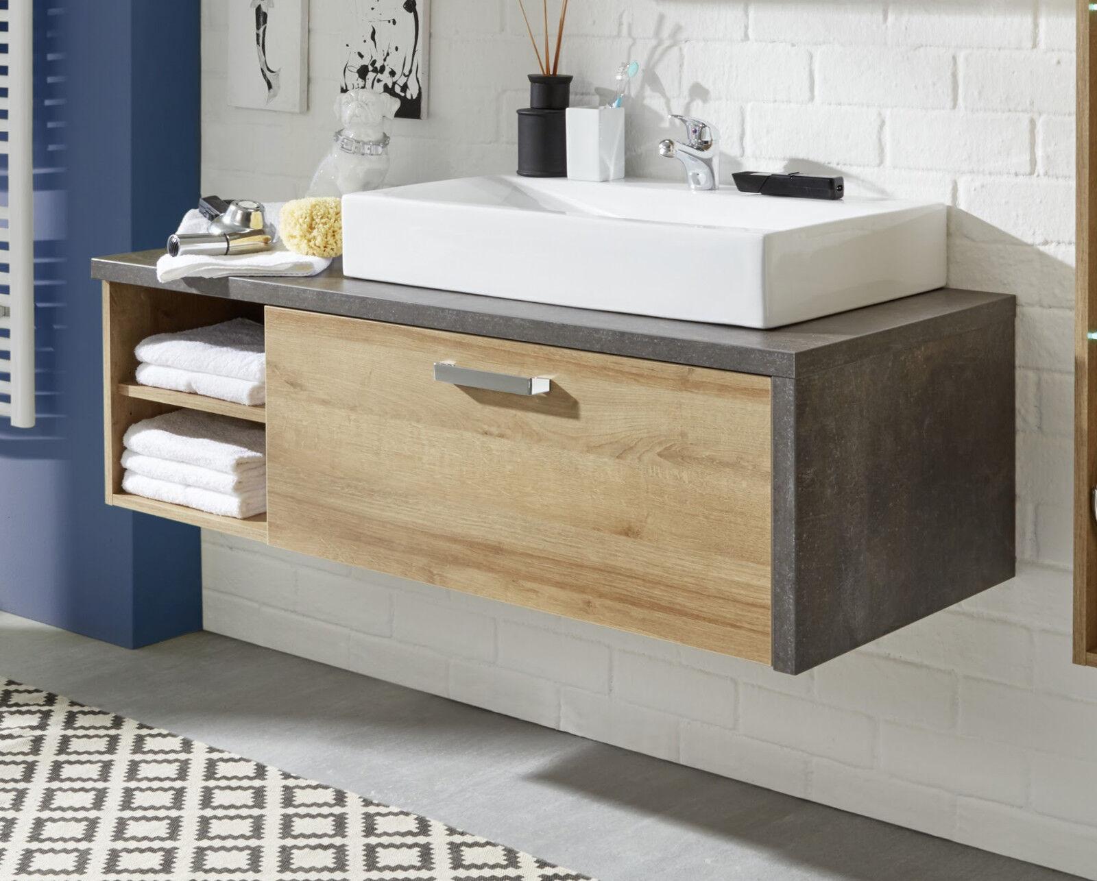 Waschbeckenunterschrank Waschtisch Eiche Honig grau Stone Waschbecken opt. Bay