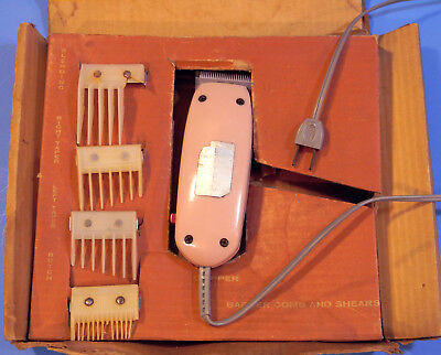 Vintage Raycine 8 pc Electric Clipper Hair Cutting Set, Model 144, c1960, Works for sale  Arvada