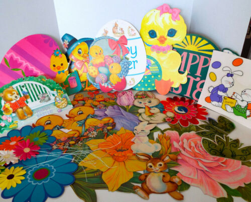 Vintage Easter Spring Diecut Cutouts Clings 32 Piece Lot Paper Fowers Hallmark