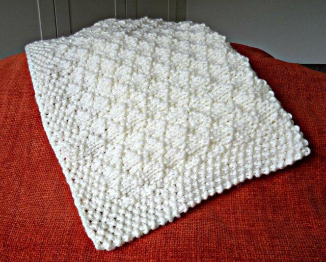 Baby Blanket Easy Knitting Pattern Super Chunky Criss Cross Ebay