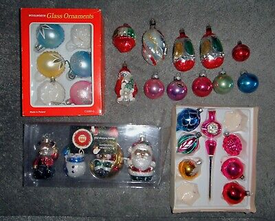 22 Gass  + 4 Plastic  Christmas Tree Decorations