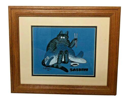 VTG B Kliban Sashimi Cat Framed T Shirt Picture Blue Brown Wood Grain 1980