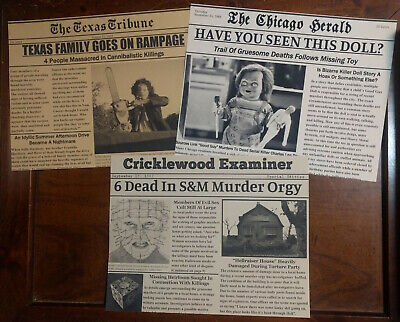 Halloween Movie Memorabilia (Horror Movie Newspaper Halloween Prop 3-Pk, Texas Chainsaw, Chucky,)