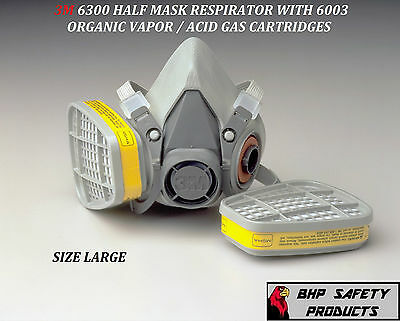 3M 6300 HALF MASK RESPIRATOR W/ ORGANIC VAPOR / ACID GAS CARTRIDGES LARGE 6003