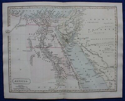 ANCIENT EGYPT, NILE DELTA, RED SEA, AEGYPTUS, original antique map, Butler 1851