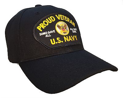 Proud Veteran Hat Black Ball Cap U.S. Navy Veteran Some Gave All All Gave Some