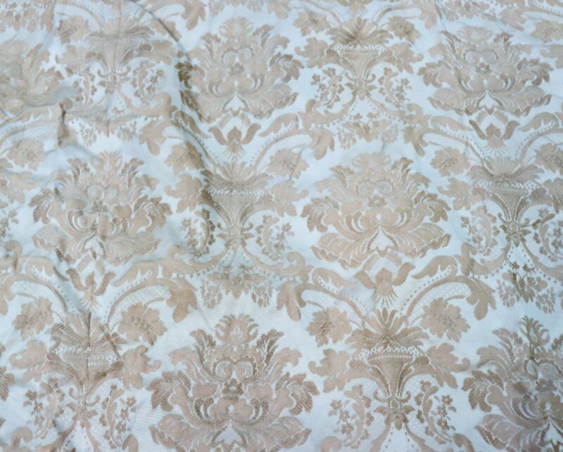 2 Vintage Satin Brocade Curtains Drapes