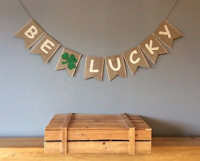Good Luck Bunting Four Leaf Clover Bon Voyage Banner Hessian Burlap
