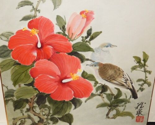 JAPANESE RED FLOWER BIRDS ORIGINAL WATERCOLOR PAINTING SIGNED