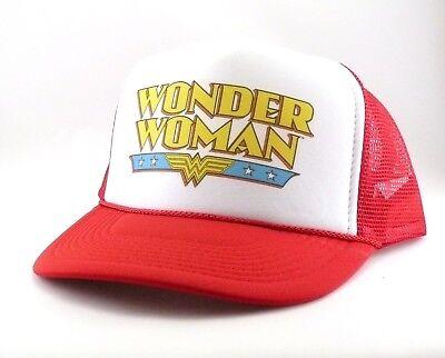 Wonder Woman Trucker Hat mesh hat snapback hat red super hero comic movie hat  - Wonder Woman Hat