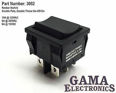 Compact 3 Position Double Pole Double Throw Dpdt On-off-on Rocker Switch - 3052