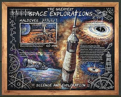Maldives 2017 Greatest Space Explorations Hubble  Apollo 11  Mars Roover Mint Nh