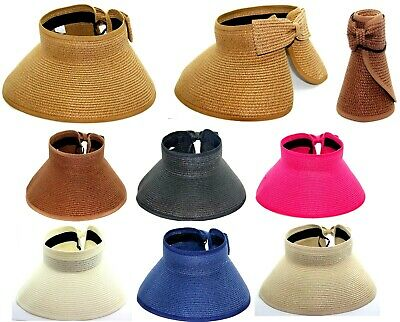 Wide Brim Roll (SUN STRAW VISOR ROLL UP FOLDABLE BUCKET WIDE BRIM HAT GRASS UV PROTECT)