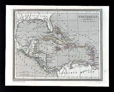 1835 Monin & Fremin Map - West Indies Guatemala Antilles Cuba Haiti Puerto Rico
