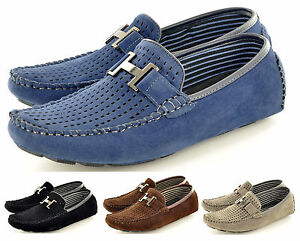 Mens-Perforated-Faux-Suede-Casual-Loafers-Moccasins-Shoes-Avail-UK-Sizes-6-11