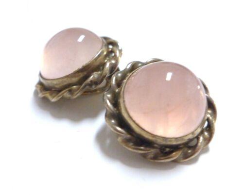 Lovely Antique Art Deco Rose Quartz Round Clip Earrings 800 Silver Gold Vermeil