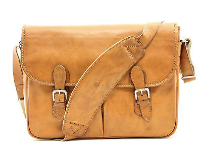 Mens Leather Shoulder Messenger Satchel Bag Italian Leather by Tony Perotti ()