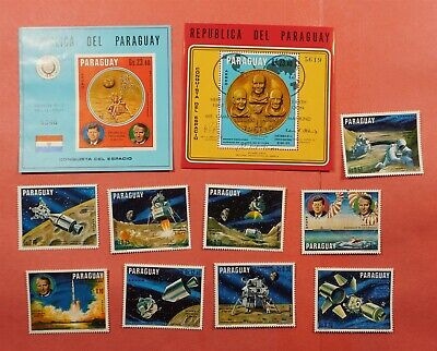 IMPERF + PERF S/S 1970 PARAGUAY SPACE APOLLO 11 AIRMAIL + STAMPS MNH