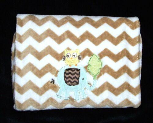 Circo Owl Elephant Leaf Baby Blanket Chevron Tan White Stripe Security Lovey EUC