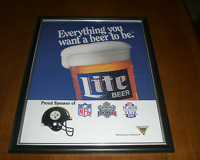 Miller Lite Beer Super Bowl Xxvii Steelers Framed Ad Print