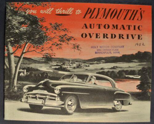 1952 Plymouth Overdrive Brochure Cranbrook Cambridge Concord Savoy Wagon Orig 52
