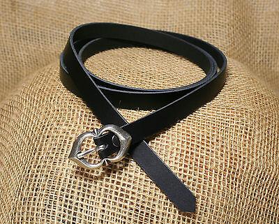 Mittelalter Langürtel Leder schwarz 137cm 1,5cm breit  Kinder Damen Gürtel lang