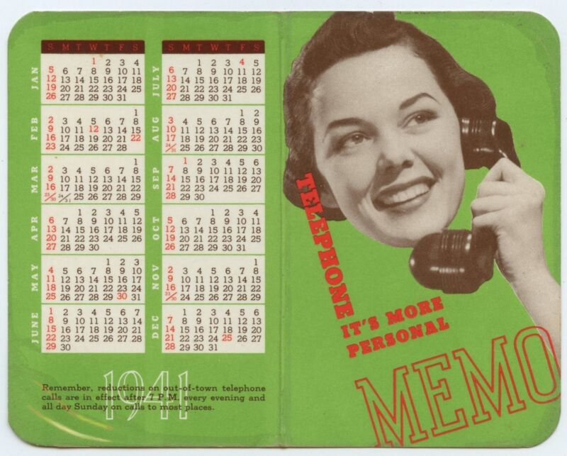 1941 Calender Telephone Company in Illinois - Pocket size - Woman with Phone