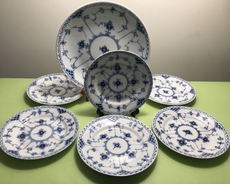 ROYAL COPENHAGEN BLUE FLUTED HALF LACE 6+1 DESSERT SET OR BREAD - BUTTER PLATES