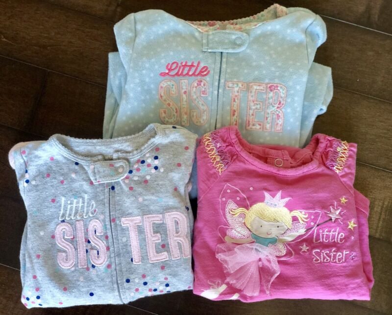 Little Sister Lot Baby Girl 9 Months Carters Koala Kids Body Suit Sleepers