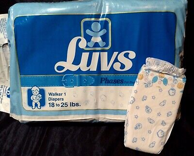 Vintage Luvs Phases Diaper for Boys Sz Walker 1 from 1992
