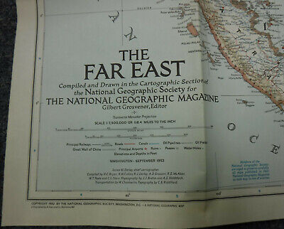 Vintage Far East (Sept 1952) AND NEAR East (Dec 1929) Maps SET of 2