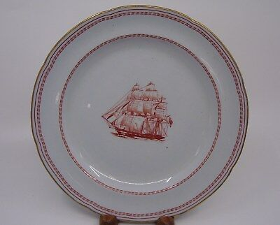 Spode Trade Winds Red Salad Plate Cutter Ship Gold Rim England George of Salem