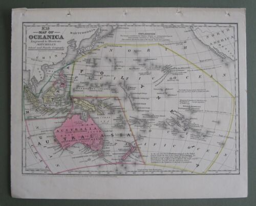 1839 Original Antique Mitchell Map:Oceania:Cpt.Cook,Bounty Mutineers+more (rare)