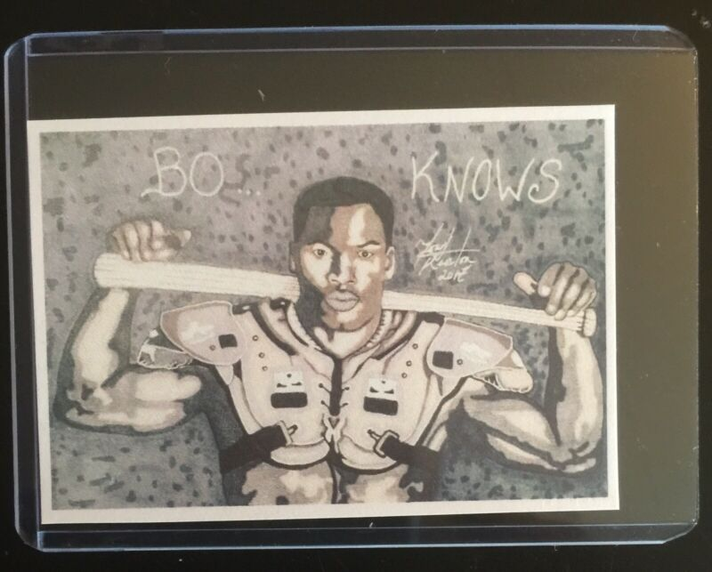 "Nfl Mlb Legend Bo Jackson ""score 697""  Sketch Card Sticker Print Artist Tony K"