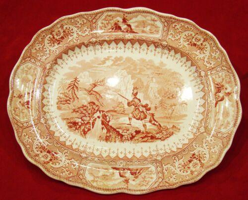 Antique W Adams & Sons Red & White Staffordshire Transferware Caledonia Platter