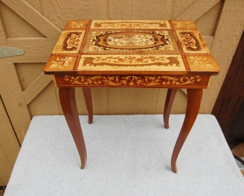 """Italy Marquetry Inlay Wood Table Lift Top Sewing Jewelry 17"""" t x 14""""x10"""" Vintage"""