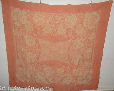 Vintage Golden Dawn Wool Blanket Pink & Cream Flower Reversible 74x82
