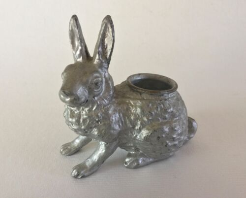 Antique Spelter White Metal Bunny RABBIT HARE Candle Holder