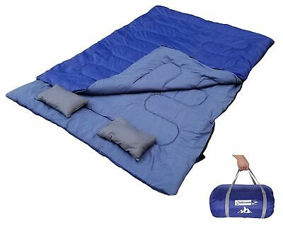 OutdoorsmanLab Double Sleeping Bag W/ 2 Soft Pillows Carrying Bag Adult (47/38F)](Soft Sleeping Bag)