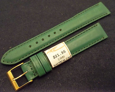(France Green Padded Calf Water Resistant 16mm Watch Band Gold Tone Buckle $21.95)