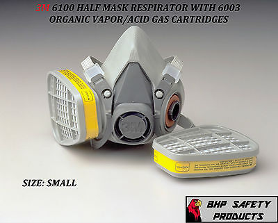 3m 6100 Half Mask Reusable Respirator With 6003 Ovag Cartridges Size Small