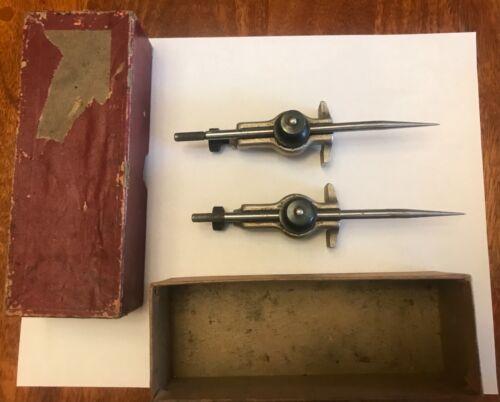 Pair Of Vintage STARRETT No.59-A Trammel Points in Original Box