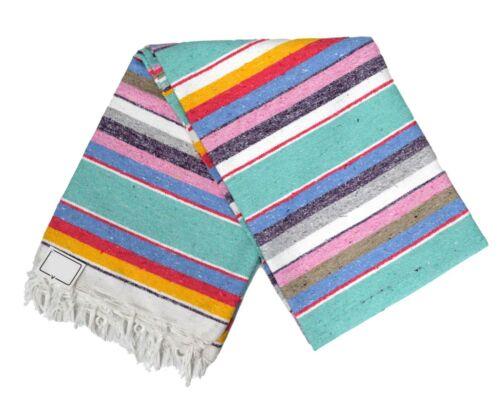 Mexican Blanket Striped Mint Multi-color 100% COTTON Serape XL Large Saltillo