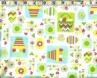 ~ Happy Easter Eggs Baskets Spring Flowers ~ 100% Cotton Quilt Craft Fabric BTY (Easter Basket Craft)