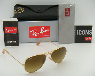 New Authentic Ray-Ban RB3025 112/85 55mm Matte Gold Frame Brown Gradient (Ray Ban 3025 Gold Brown Gradient 55mm)
