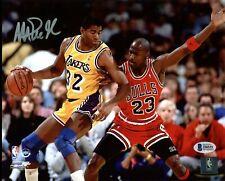 Lakers Magic Johnson Signed 8X10 Photo w/ Michael Jordan BAS Witnessed 3