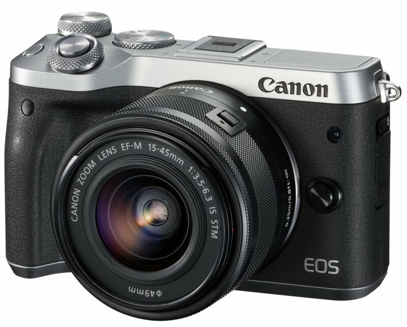 Canon EOS M6 Mirrorless Camera with EF-M 15-45mm f/3.5-6.3 IS STM Zoom Lens Silver 1725C011